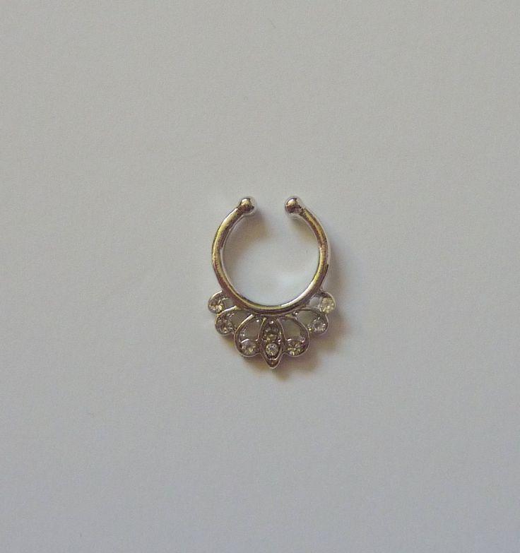 Silver Fake septum ring, fake nose ring, silver fake nose ring, septum, silver fake septum ring, fake septum ring, silver septum ring, S6
