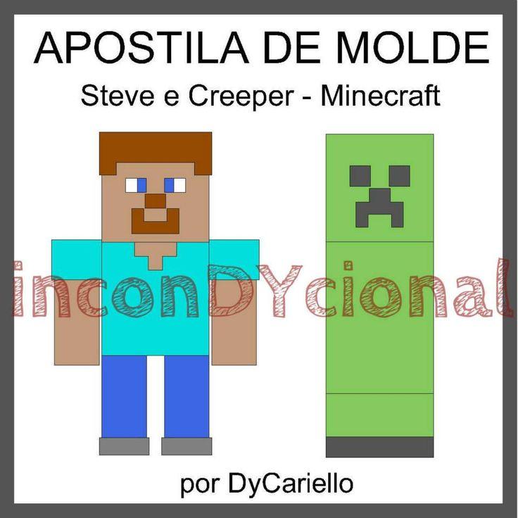 >>Apostila digital com molde do Steve e Creeper do Minecraft [Conforme imagem], para ser feito em feltro/tecido.  >> Sem PAP. Apenas o molde.  >> Bonecos em 3D.  Nos tamanhos de aproximadamente 25cm e 35cm.  >> A apostila tem 1,35mb, formato PDF, 15 páginas https://www.facebook.com/inconDYcional/photos/a.811942578856722.1073741827.187805041270482/908883185829327/?type=3&theater