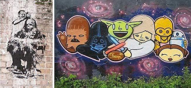 7 muros grafitados com personagens do filme Star Wars