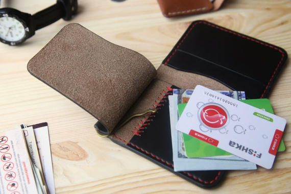 Personalized money clip wallet money clip card holder Black