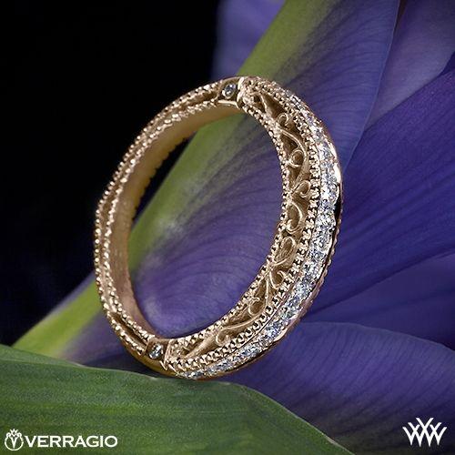 18k Rose Gold Verragio Beaded Diamond Wedding Ring from the Verragio Venetian Collection