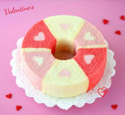 Loving Creations for You: Pink Ombre Patterned Hearts Chiffon Cake (Strawber...