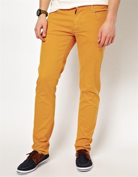 Жёлтые мужские джинсы