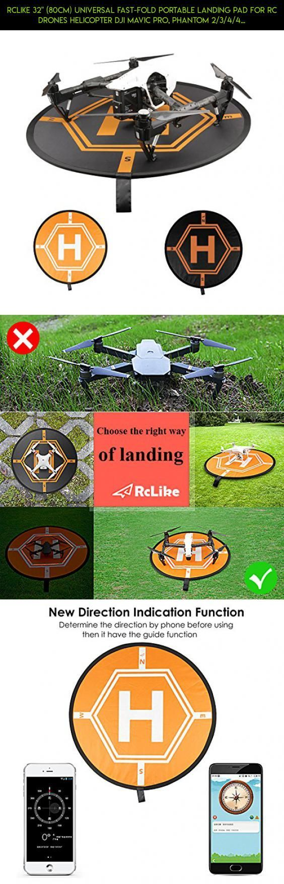 """RcLike 32"""" (80cm) Universal Fast-Fold Portable Landing Pad for RC Drones Helicopter DJI Mavic Pro, Phantom 2/3/4/4 Pro, Inspire 2/1, 3DR Solo, GoPro Karma, Parrot, Antel Robotic, Holy Stone, UDI #drone #3dr #kit #gadgets #tech #fpv #parts #shopping #products #fpv #technology #goggles #plans #camera #racing"""
