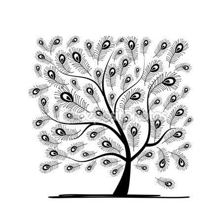 Albero di arte con piuma di pavone per il vostro disegno. Illustrazione di vettore