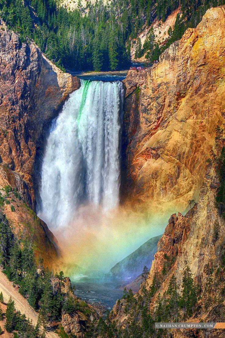 Lower Falls in the Grand Canyon of Yellowstone National Park with Rainbow [1200×800]