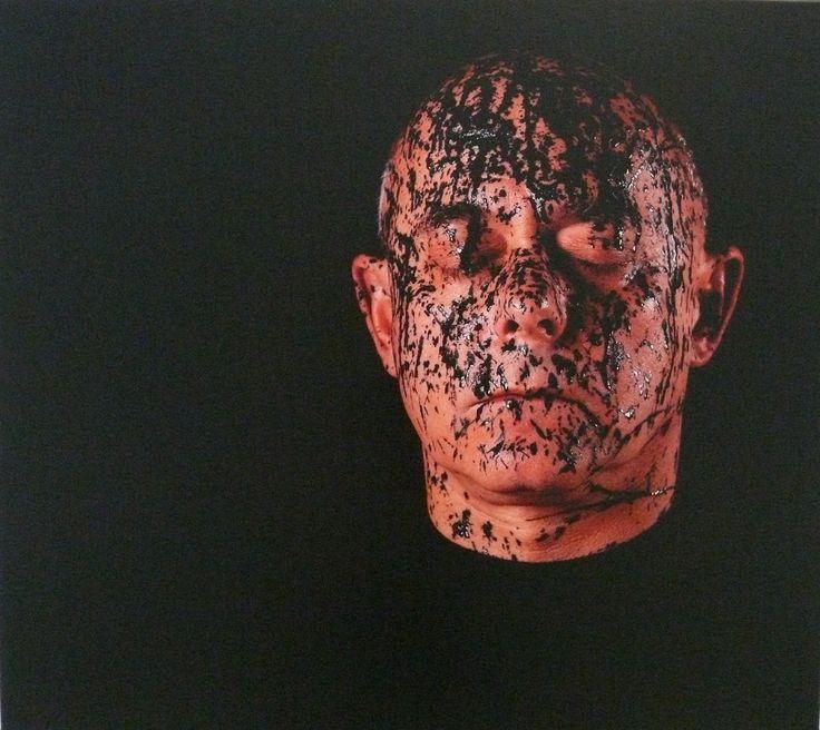Szirtes János: Pasztózus Fröcskölt I. (1/1) / Pastose Autoportrait I. (1/1), 2012, 90 x 80 cm, inkjet print, matt lakk, vászon / inkjet print, matt lacquer on canvas