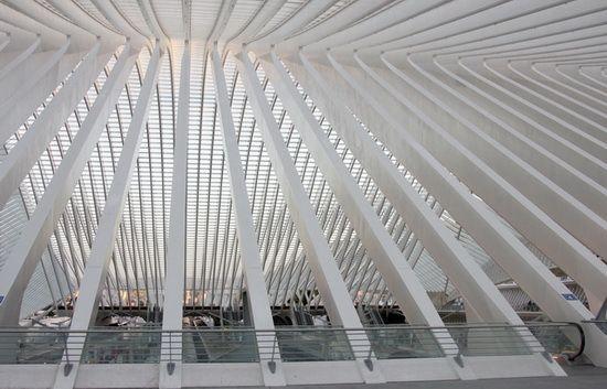 Santiago CALATRAVA // конструкция покрывающего вокзал купола, Льеж, Франция, Сантьяго Калатрава