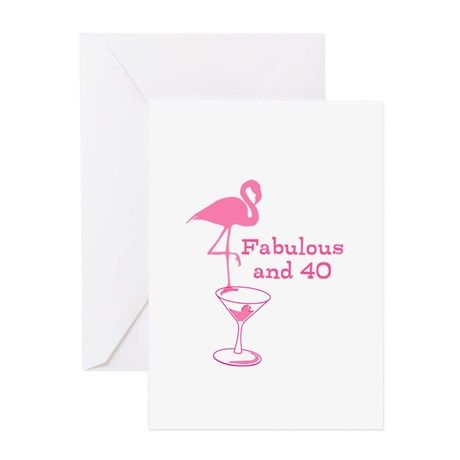 Fabulous Flamingo Fortieth Birthday Martini Party greeting card sold!