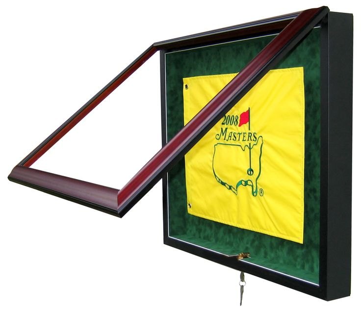 EACH DISPLAY CASE IS MADE TO ORDER. PLEASE SPECIFY YOUR CHOICE OF WOOD FINISH AND SUEDE COLOR AT TIME OF PURCHASE. REGULAR RETAIL PRICE: $270 PRICE ON ETSY: $215!!! DIMENSIONS: 25 Wide 20 Tall (Golf Flag not included) Shown in Mahogany finish with green suede matting DISPLAY CASE FEATURES: - Holds a standard size golf flag (must specify size at time of purchase) - Golf Flag easily attaches to a framers tac board, which will not damage the flag - Easy opening front doors...