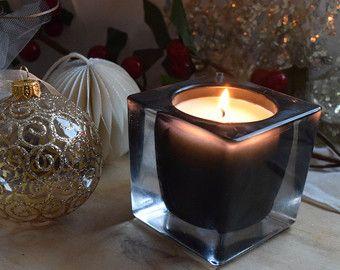 Candela di cera di soia fatti a mano, profumate spezie, in contenitore di vetro nero, quadrato, regalo di nozze, regalo di benvenuto, pezzo di centro tavola,