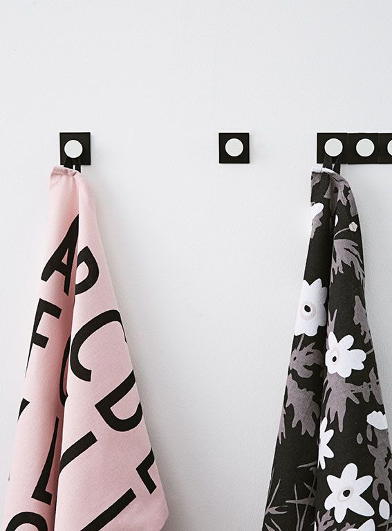 Monochrome and graphic kitchen storage! Easy to mount on the wall with extremely strong double adhesive tape. Tea towels designs: Flowers by AJ and AJ Vintage ABC.