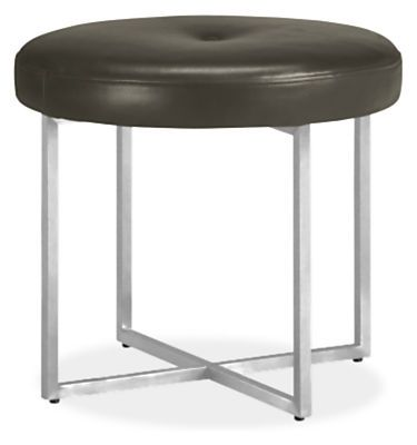 Sidney Leather Round Ottomans - Benches & Stools - Living - Room & Board