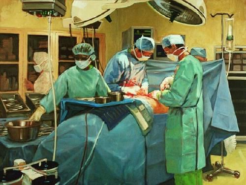 "Drs. Ruenes y Flashner operando (""Drs. Ruenes and Flashner in surgery""). Robert Beck. 20?? Localización: colección particular. https://painthealth.wordpress.com/2016/10/14/drs-ruenes-y-flashner-operando/"
