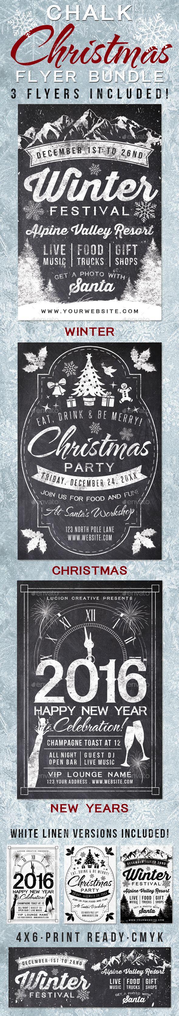 Chalk Christmas Flyer Templates PSD Bundle #design Download: http://graphicriver.net/item/chalk-christmas-flyer-bundle/13570179?ref=ksioks
