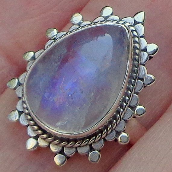 Moonstone Ring Rainbow Moonstone Sterling by JanesGemCreations