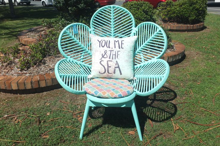 Treasured Interiors - Outdoor/Indoor chair - aqua with multicoloured cushion - side table and matching chair available ('You, me and the Sea' cushion sold separately)