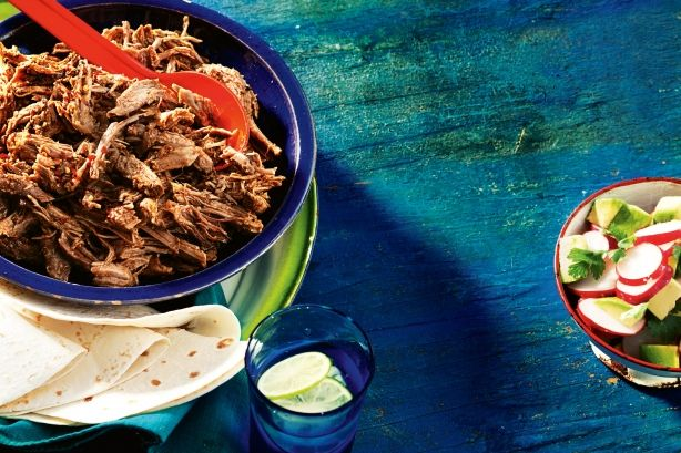 Based on the Yucatan dish cochinita pibil, this pork is delicious with cebolla en escabeche – pickled onions.