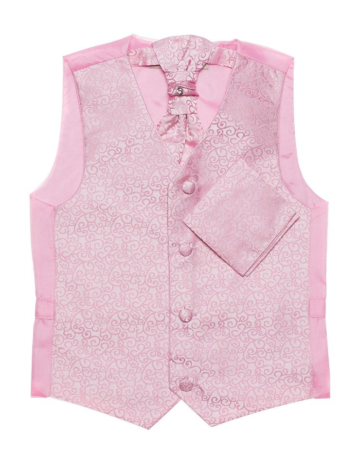 Boys baby pink swirl waistcoat, cravat & pocket handkerchief set. Available from 3 months - 14 years. More boys waistcoats at www.rococlothing.co.uk