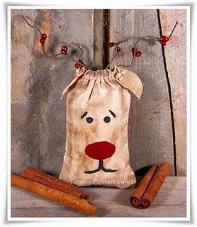Grungy Reindeer Ornie made from a muslin bag.