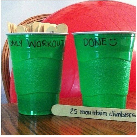 Fun ways to add daily workout routines! This is a good idea..when I catch my self just lasyin around doin nothing I can pull one out and be one step closer to a better me!