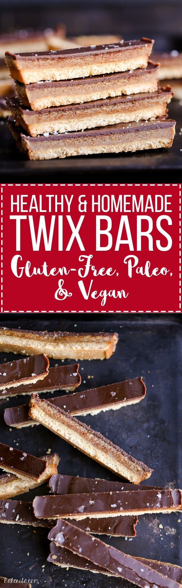 This recipe for healthy homemade Twix Bars is a game changer! When you take a bite, you won't believe that this candy bar copycat is gluten-free, refined sugar free, Paleo, and vegan.: