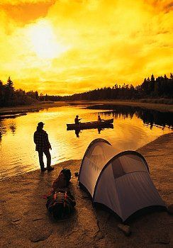 Family camping, canoeing and fishing, Whiteshell Provincial Park, Manitoba, Canada