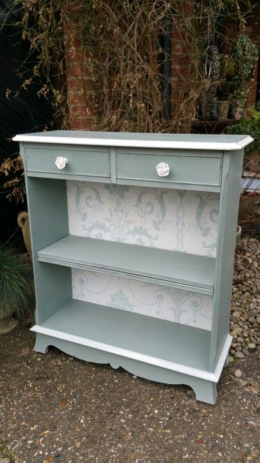 Shabby chic bookcase hand painted in Annie Sloan's Duck Egg and Old White, by Imperfectly Perfect xx