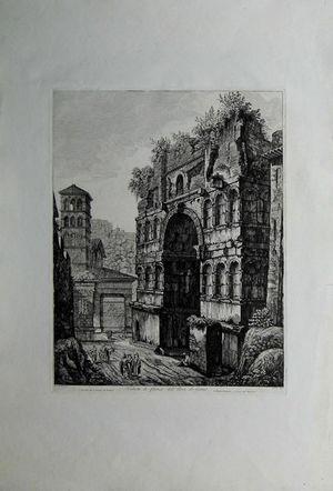 Veduta di fianco dell'Arco di Giano by Luigi Rossini