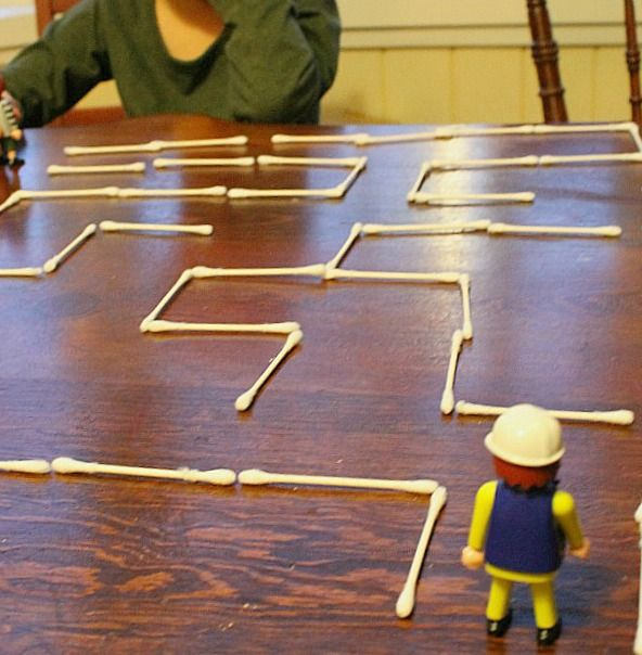 A Q-tip Maze! Fun rainy day STEM activity for kids. Could build it and then have a partner find the solution.
