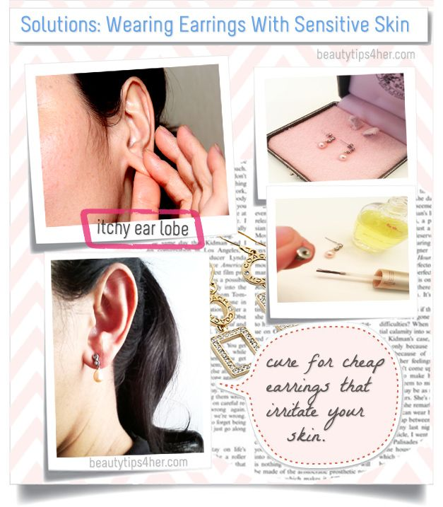 Jewelry Solutions for People with Sensitive Ears.. If you think you can't wear earrings, think again! Check out this easy trick to enjoy wearing your favorite earrings once again. #earrings, #sensitive_ears, #beauty_tips