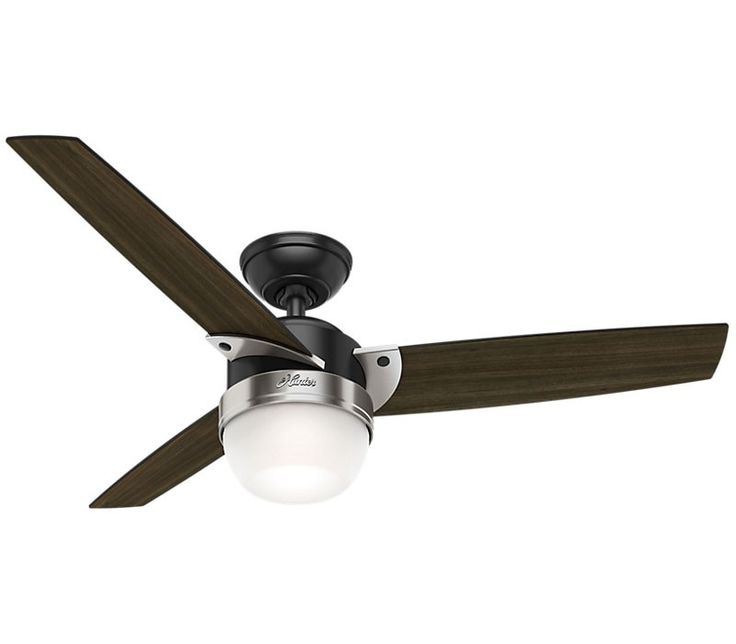 """Hunter 48"""" Flare Matte Black Ceiling Fan with Light and Remote"""