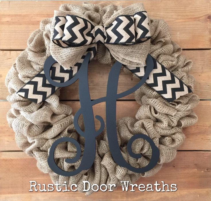 Front Door Wreath / Burlap Wreath / Initial Wreath / Front Door Letter Wreath / Fall Wreath / Monogram Wreath by RusticDoorWreaths on Etsy https://www.etsy.com/listing/526872815/front-door-wreath-burlap-wreath-initial