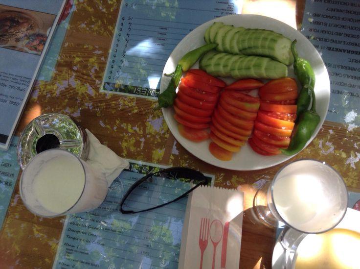 Fresh sliced cucumbers and tomatoes before a lunch and a swim at Dalyan, Turkey  retireturkey.wordpress.com