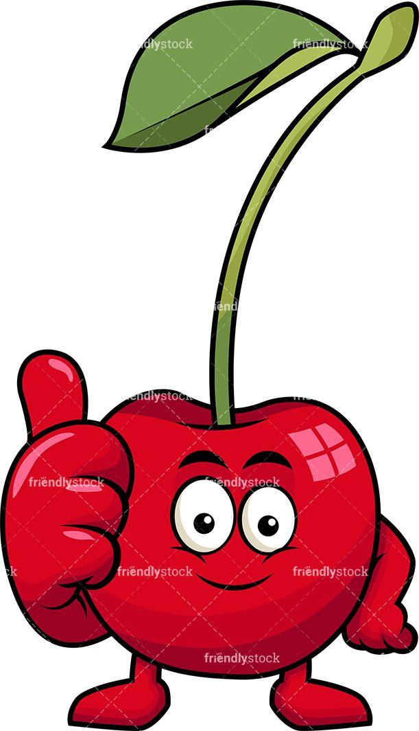 Cherry Mascot Thumbs Up Cartoon Vector Clipart Friendlystock Fruit Cartoon Cartoons Vector Kawaii Doodles