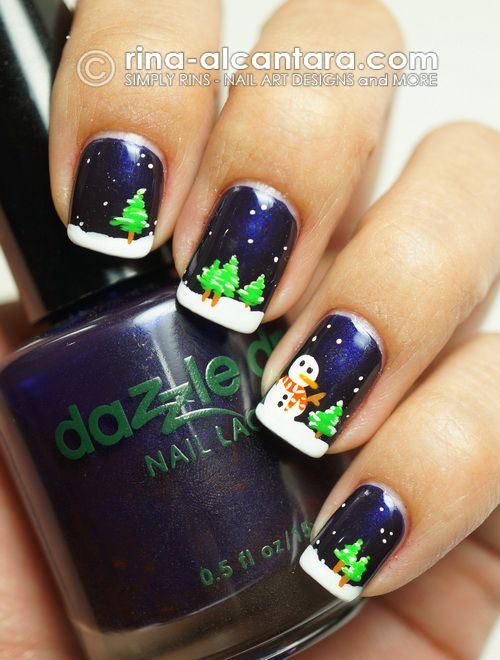 Night Before Christmas Nail Art Design; tutorial at http://www.youtube.com/watch?v=G4iehfoQs2E
