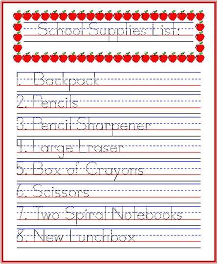 handwriting practice idea school supplies list handwriting school for. Black Bedroom Furniture Sets. Home Design Ideas