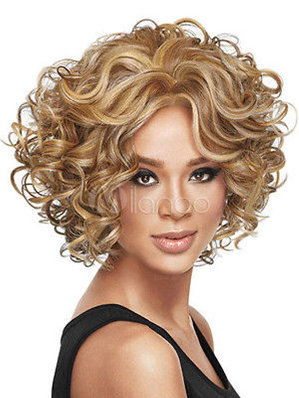 /Fashion Wig Charm Women'S Short Mix Blonde Curly Natural Hair Full Wigs