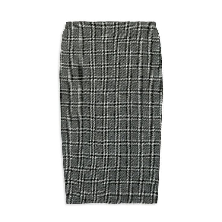 -% PRIMARK GLAMOUR Black & White Check Pencil Midi Skirt UK 16 18 20