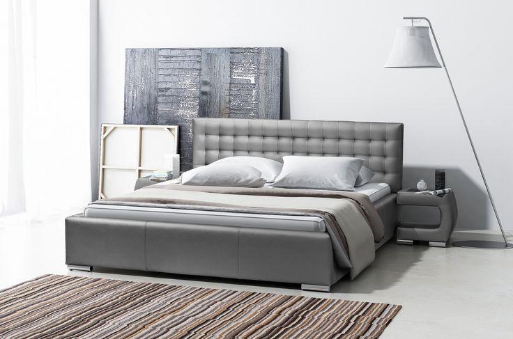Modern bed in the grey colour, it is a this year's hit into the perfect bedroom! Nowoczesne łóżko w szarym kolorze, to tegoroczny hit do idealnej sypialni.  #bedroom #bed #grey #mirjan24 #dreambedroom #goodsleep