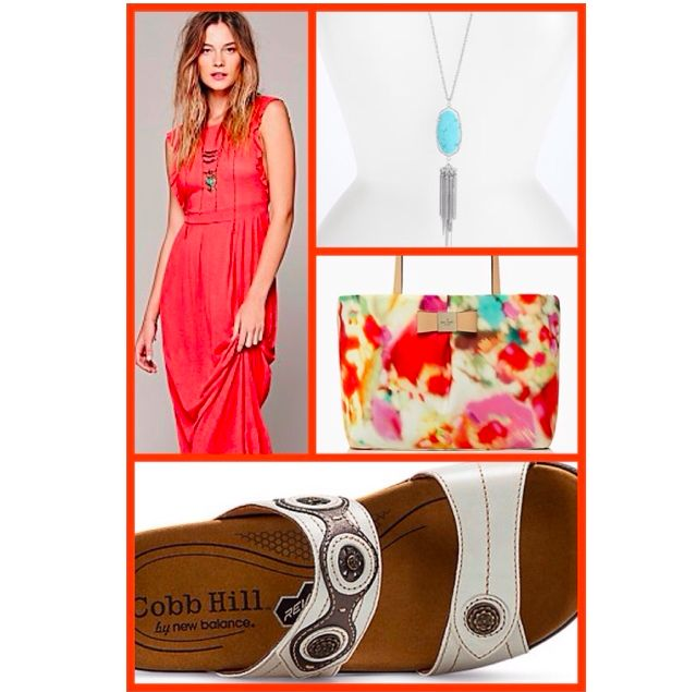 "Today, we are all about color! We paired our Cobb Hill REVswoon sandal with a ""lobster red"" maxi dress from @penny shima glanz shima glanz Douglas People, a floral tote from @Kate Mazur Mazur Mazur spade new york, and turquoise pendant necklace from @Nordstrom."