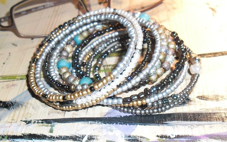 memory wire bracelets - grey/brown with a little turquoise
