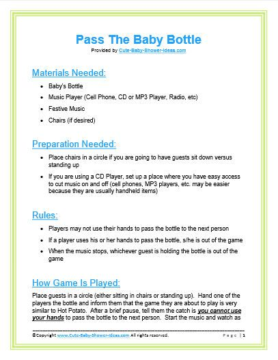 pass the baby bottle pdf baby shower game ideas pinterest shower