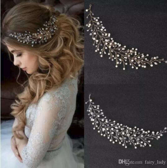 2018 Boho Hair Tiaras Wedding Crowns Headpiece For Women Bling Crystal Rhinestone Pearls Hand Made Headband Bridal Party Prom Gown