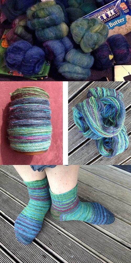 Sharonota's hanspun, chain-plied socks.