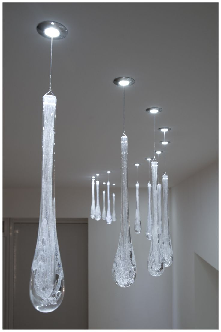 FLOP ICE DROP - LED spotlight made of stainless steel with hand blown glass component. SHOWROOM: Šaľa – Veča, Slovakia.