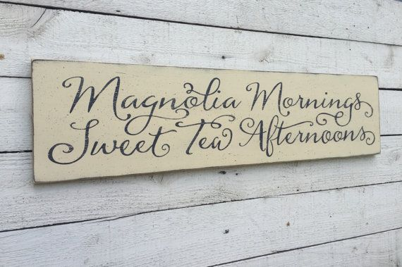 "Magnolia Mornings Sweet Tea Afternoons, rustic farmhouse kitchen decor, fixer upper sign, distressed 9"" x 36"" wood sign, southern saying"