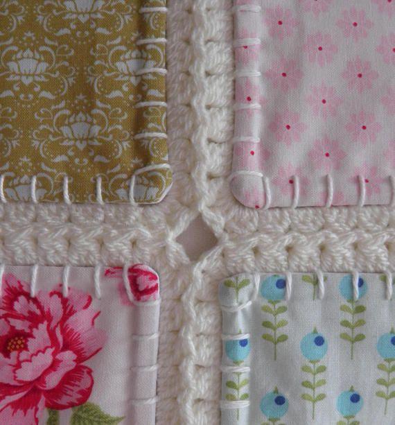 Fusion quilt Patchwork quilt with crochet border Tilda