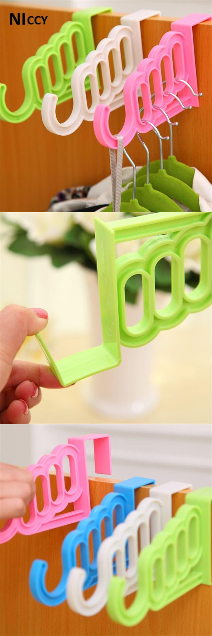Candy Colored Coat Clothes Hanger Drying Rack Bathroom Door Hook for Umbrella Clothing Plastic Organizer Space Saver