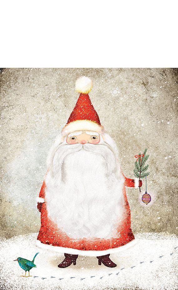 Navidad Santa Claus ilustración impresión nieve copo de nieve rojo amarillento blanco adorno barba bigote Birdie